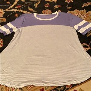 NWOT Maurice's Lavender and Gray Striped Blouse